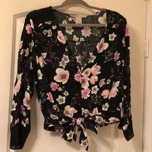 American Rag Floral-Print Tie-Hem Top Sz M NWOT